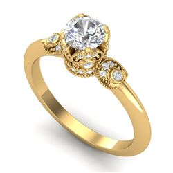 1 CTW VS/SI Diamond Solitaire Art Deco Ring 18K Yellow Gold - REF-157A5X - 36853