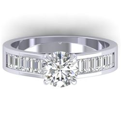 1.75 CTW Certified VS/SI Diamond Solitaire Art Deco Ring 14K White Gold - REF-422A4X - 30348