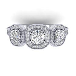 2.25 CTW Certified VS/SI Diamond 3 Stone Micro Halo Ring 14K White Gold - REF-236N2Y - 30438