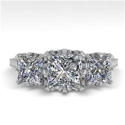 2 CTW Past Present Future Certified VS/SI Princess Diamond Ring 18K White Gold - REF-414X2T - 35784