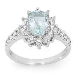 2.20 CTW Aquamarine & Diamond Ring 14K White Gold - REF-74F5N - 14524