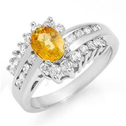 1.77 CTW Yellow Sapphire & Diamond Ring 14K White Gold - REF-78W2F - 13371