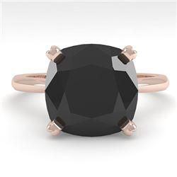 6.0 CTW Cushion Black Diamond Engagement Designer Ring Size 7 18K Rose Gold - REF-162W2F - 32459