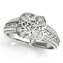 1.5 CTW Certified VS/SI Diamond Solitaire Halo Ring 18K White Gold - REF-399K8W - 26910