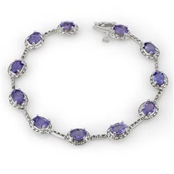 11.40 CTW Tanzanite & Diamond Bracelet 14K White Gold - REF-146A5X - 10619