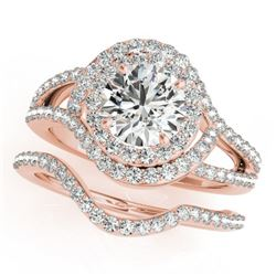 1.92 CTW Certified VS/SI Diamond 2Pc Wedding Set Solitaire Halo 14K Rose Gold - REF-256W2F - 31263