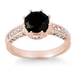 2.0 CTW VS Certified Black & White Diamond Ring 14K Rose Gold - REF-100X2T - 11808