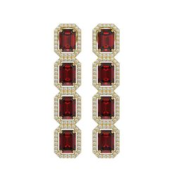12.73 CTW Garnet & Diamond Halo Earrings 10K Yellow Gold - REF-146X9T - 41473