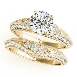 1.51 CTW Certified VS/SI Diamond Solitaire 2Pc Wedding Set Antique 14K Yellow Gold - REF-178T2M - 31