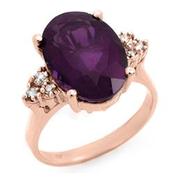 5.15 CTW Amethyst & Diamond Ring 10K Rose Gold - REF-35F6N - 12932