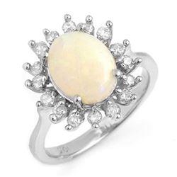 1.78 CTW Opal & Diamond Ring 18K White Gold - REF-74F8N - 13268