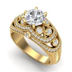2 CTW VS/SI Diamond Solitaire Art Deco Ring 18K Yellow Gold - REF-581Y8K - 37114