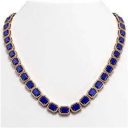 58.59 CTW Sapphire & Diamond Halo Necklace 10K Rose Gold - REF-731A3X - 41337