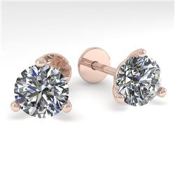 2.01 CTW Certified VS/SI Diamond Stud Earrings Martini 18K Rose Gold - REF-570W2F - 32216