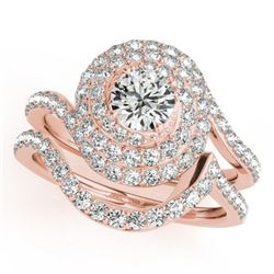 1.67 CTW Certified VS/SI Diamond 2Pc Wedding Set Solitaire Halo 14K Rose Gold - REF-169N3Y - 31296