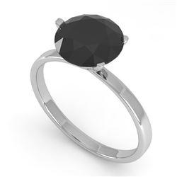 2.0 CTW Black Certified Diamond Engagement Ring Martini 18K White Gold - REF-73F3N - 32250