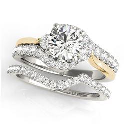 1.56 CTW Certified VS/SI Diamond Bypass Wedding 14K White & Yellow Gold - REF-224M5H - 31841