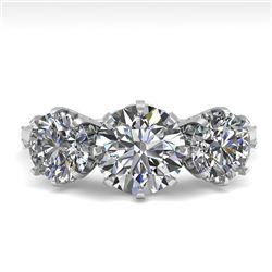 2 CTW Past Present Future Certified VS/SI Diamond Ring 18K White Gold - REF-414T2M - 35775