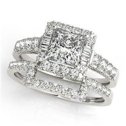 2.02 CTW Certified VS/SI Princess Diamond 2Pc Set Solitaire Halo 14K White Gold - REF-463K3W - 31394