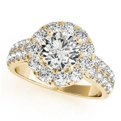 1.75 CTW Certified VS/SI Diamond Solitaire Halo Ring 18K Yellow Gold - REF-255M3H - 26439