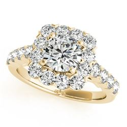 1.5 CTW Certified VS/SI Diamond Solitaire Halo Ring 18K Yellow Gold - REF-161F8N - 26208