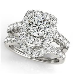 2.12 CTW Certified VS/SI Diamond 2Pc Wedding Set Solitaire Halo 14K White Gold - REF-187K3W - 30666