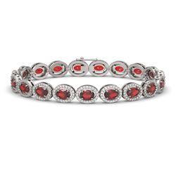 14.63 CTW Garnet & Diamond Halo Bracelet 10K White Gold - REF-228X2T - 40496