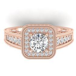 2 CTW Certified VS/SI Diamond Art Deco Halo Ring 14K Rose Gold - REF-258F2N - 30496