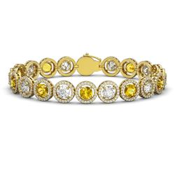 15.47 CTW Canary Yellow & White Diamond Designer Bracelet 18K Yellow Gold - REF-2195N3Y - 42691