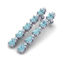 10.36 CTW Sky Blue Topaz & VS/SI Certified Diamond Earrings 10K White Gold - REF-53H3A - 29410