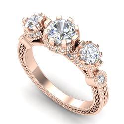 1.75 CTW VS/SI Diamond Solitaire Art Deco 3 Stone Ring 18K Rose Gold - REF-309F3N - 37071