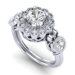 1.5 CTW VS/SI Diamond Solitaire Art Deco 3 Stone Ring 18K White Gold - REF-300F2N - 37058