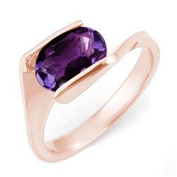 2.0 CTW Amethyst Ring 10K Rose Gold - REF-20Y9K - 11183