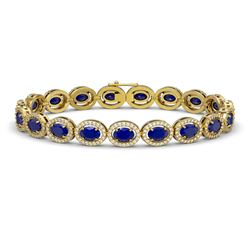 15.2 CTW Sapphire & Diamond Halo Bracelet 10K Yellow Gold - REF-244W2F - 40459