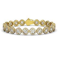 15.58 CTW Cushion Cut Diamond Designer Bracelet 18K Yellow Gold - REF-2887K8W - 42862