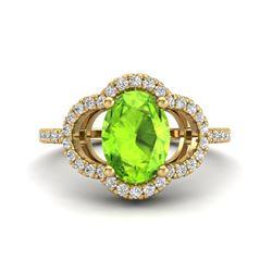 1.75 CTW Peridot & Micro Pave VS/SI Diamond Ring 10K Yellow Gold - REF-35T8M - 20989