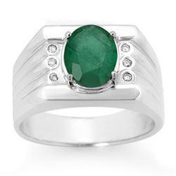 2.06 CTW Emerald & Diamond Men's Ring 10K White Gold - REF-73T8M - 14469