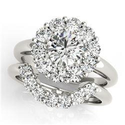 1.81 CTW Certified VS/SI Diamond 2Pc Wedding Set Solitaire Halo 14K White Gold - REF-241K6W - 31271