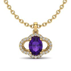 2 CTW Amethyst & Micro Pave VS/SI Diamond Necklace 10K Yellow Gold - REF-29H6A - 20620