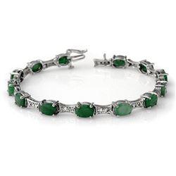11.04 CTW Emerald & Diamond Bracelet 14K White Gold - REF-135K6W - 14052