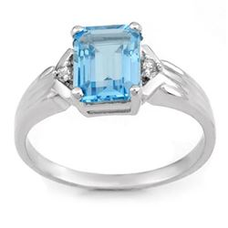 2.03 CTW Blue Topaz & Diamond Ring 10K White Gold - REF-16A2X - 11067