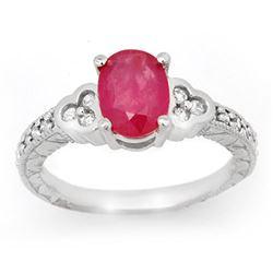 2.31 CTW Ruby & Diamond Ring 14K White Gold - REF-62K4W - 13978