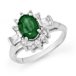 1.98 CTW Emerald & Diamond Ring 14K White Gold - REF-67A3X - 13122