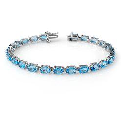 12.90 CTW Blue Topaz Bracelet 10K White Gold - REF-48N2Y - 13722