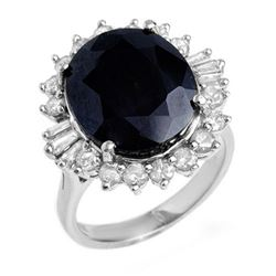 14.02 CTW Blue Sapphire & Diamond Ring 18K White Gold - REF-144M8H - 12862