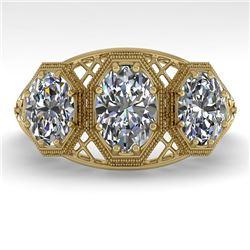 2 CTW Past Present Future VS/SI Oval Cut Diamond Ring 18K Yellow Gold - REF-421K6W - 36067