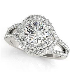 2.15 CTW Certified VS/SI Diamond Solitaire Halo Ring 18K White Gold - REF-617K5W - 27000