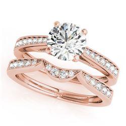 0.94 CTW Certified VS/SI Diamond Solitaire 2Pc Wedding Set 14K Rose Gold - REF-135Y6K - 31725