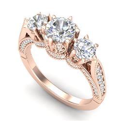 2.18 CTW VS/SI Diamond Art Deco 3 Stone Ring 18K Rose Gold - REF-296Y4K - 37248