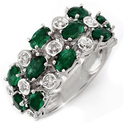 2.20 CTW Emerald & Diamond Ring 10K White Gold - REF-45W8F - 11420